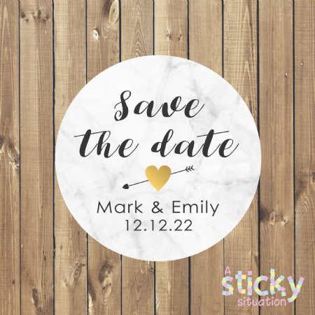 Personalised Save the Date Stickers - Marble Design
